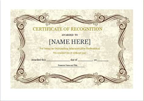certificate of recognition template word certificate of recognition template for word document hub