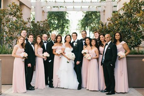 Dusty Rose and Black Wedding Party