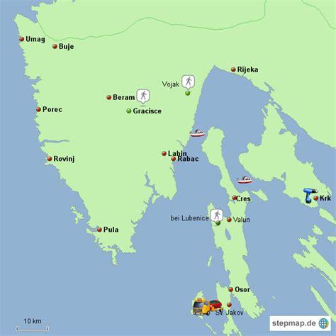 istrien cres krk von primero landkarte fuer kroatien