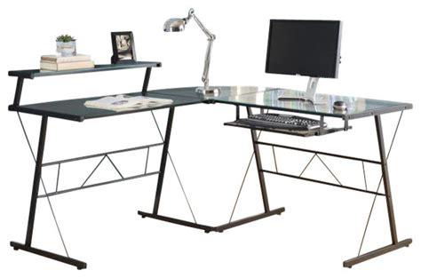 black glass l shaped desk black metal l shaped computer desk with tempered glass