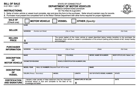 Boat Registration Ct connecticut vehicle vessel bill of sale form h 31