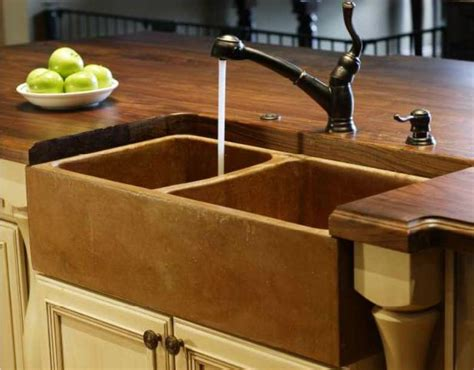 cast concrete sinks  solid wood countertops