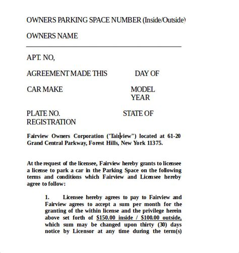 parking lease templates sample templates