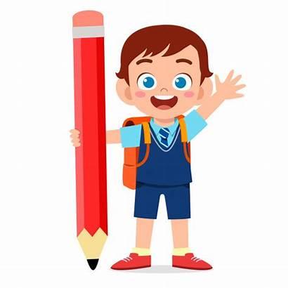 Boy Kid Pencil Premium Freepik Hapy Jongen