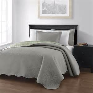 3 piece gray sage pinsonic quilted reversible bedspread