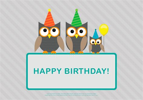 birthday card template owl family birthday card template vector free