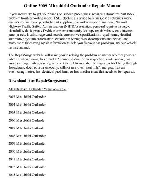online service manuals 2012 mitsubishi outlander sport parental controls 2009 mitsubishi outlander repair manual online