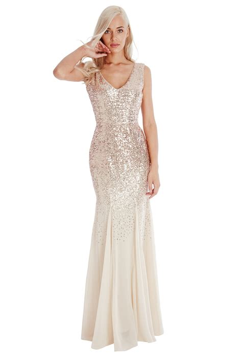 Dress Lusia Maxy sequin and chiffon maxi dress chagne sequin and