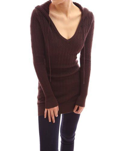 aesthetic official pattyboutik cable hooded v neck sleeve pullover fitted knit tunic