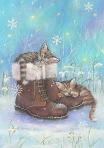 Cute Painting With Kittens Boots Falling Snowflakes