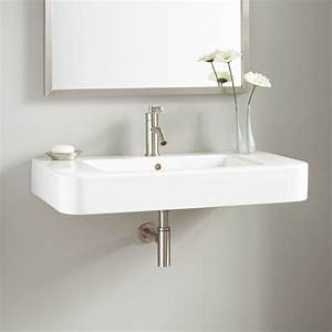 34quot burleson porcelain wall mount sink wall mount sinks for Sinks bathroom