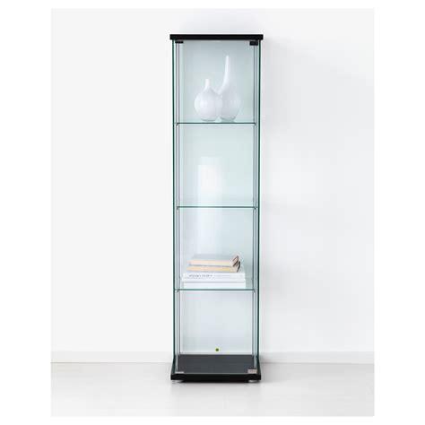 ikea display cabinet detolf glass door cabinet black brown 43 x 163 cm ikea