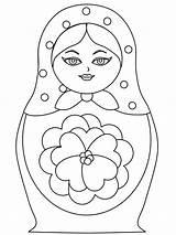 Doll Russian Matryoshka Nesting Coloring Drawing Template Dolls Printable Sketch Colouring Craft Templates Adult Kokeshi Paper Pattern Patterns Sheets Diy sketch template