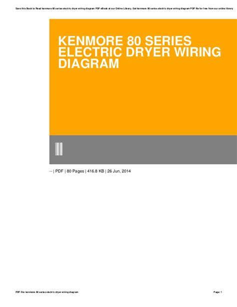 Kenmore Series Electric Dryer Wiring Diagram