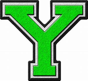 Presentation Alphabets: Kelly Green Varsity Letter Y