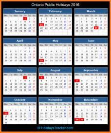 ontario canada holidays 2016 holidays tracker
