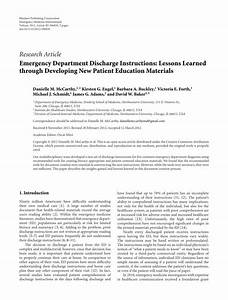 Pdf  Emergency Department Discharge Instructions  Lessons Learned Through Developing New