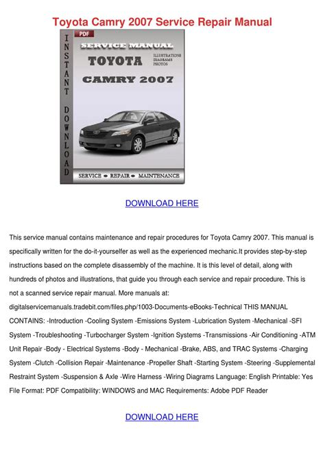 online service manuals 2002 toyota camry user handbook toyota camry 2007 service repair manual by ionagladden issuu