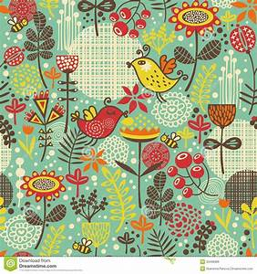 Beautiful Seamless Pattern With Cute Birds Stock Vector