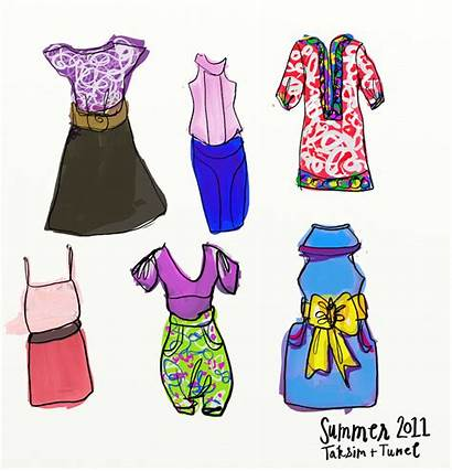 Clothes Summer Outfit Sketch Drawings Clipart Clip