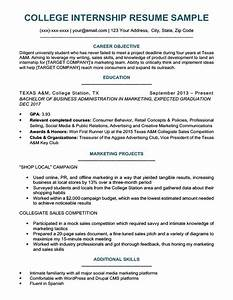 college student resume sample writing tips resume With college student resume for internship