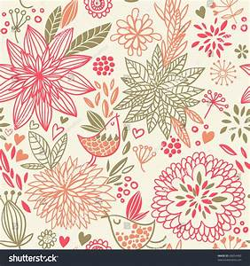 Spring Floral Design Pattern Stock Vector 68654485