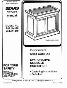 Sears Kenmore Quiet Comfort 758 144120 Users Manual