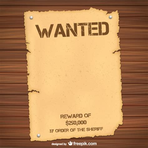 wanted template wanted poster template vector free