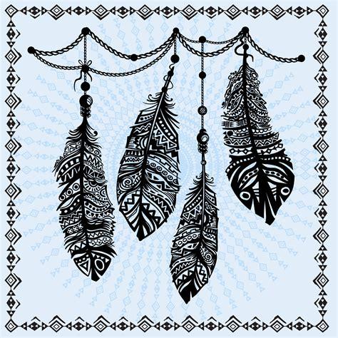vintage feathers ethnic pattern tribal design tattoo