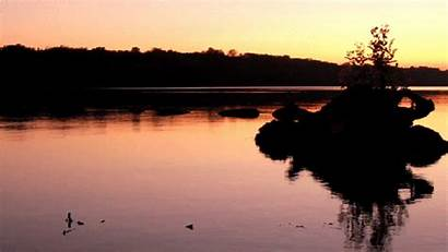 Sunset Calm Gifs Nature Lake Down Animated