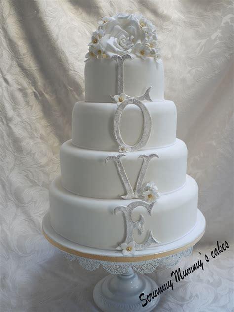 scrummy mummys cakes  tier monogram love wedding cake