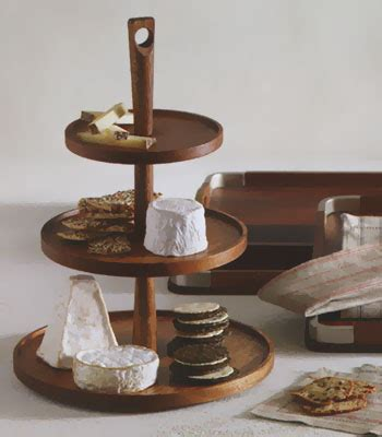 triple tiered wooden pedestal food  cheese serving tray
