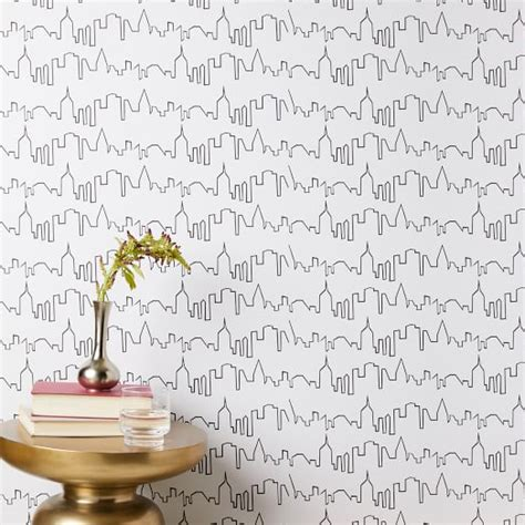 chasing paper city skyline removable wallpaper west elm