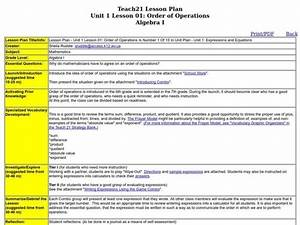 Order Of Operations Lesson Plan For 6th