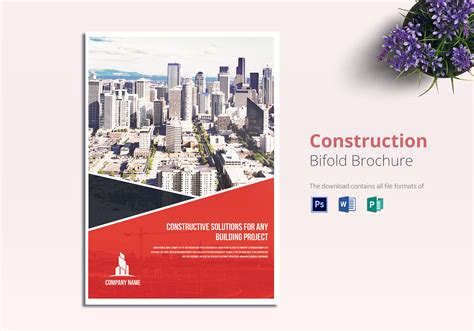 construction company brochure templates construction brochure design template in word psd publisher