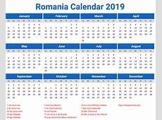 Romania Calendar 2019 printcalendarxyz
