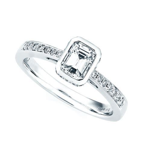 berry s platinum diamond emerald cut rub over design engagement ring