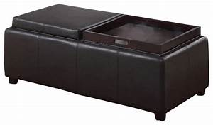 Faux leather storage ottoman with double reversible tray for Double storage ottoman bench