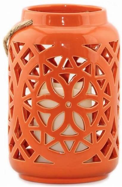 Ceramic Lantern Lanterns Candle Orange Candles Decor