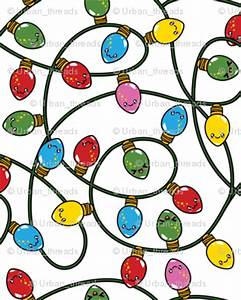 Kawaii Christmas Lights - Snow fabric - urban_threads ...