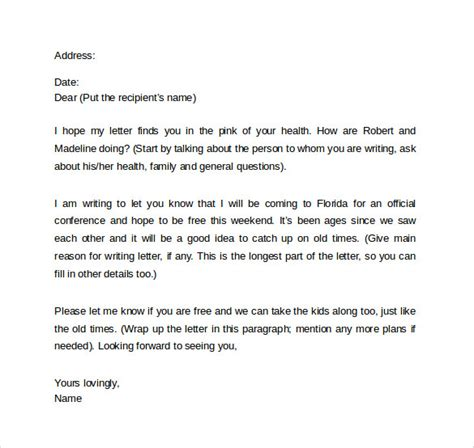 friendly letter templates samples