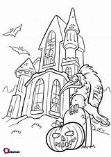 Coloring Pages Haunted Pumpkin Scary Halloween Bubakids sketch template