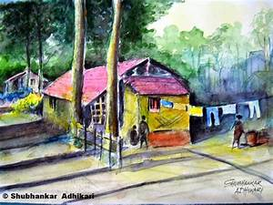 Artworks by Shubhankar Adhikari: Indian village scene