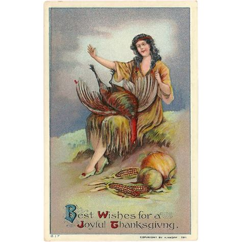 Vintage 1911 Embossed Thanksgiving Postcard With Native