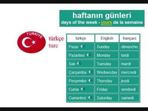 Learn Turkish Language Vocabulary  Days Of The Week Youtube