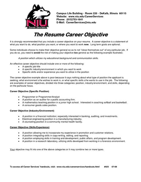job objectives on a resumes career objective on resume template resume builder