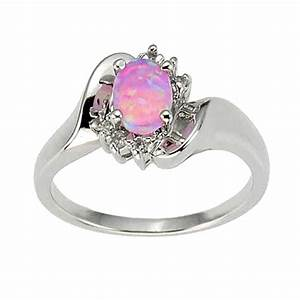 925 sterling silver synthetic pink opal women39s engagement for Opal wedding rings for women