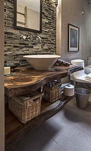 plan vasque en bois naturel idees en 32 photos fascinantes With salle de bain design avec vasque pierre brute