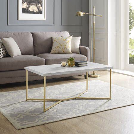 Melody coffee table chunky white tabletop with rectangular metal legs gives this coffee table a distinguished modern look. Walker Edison Mid-Century Modern Coffee Table - White Faux Marble/Gold - Walmart.com