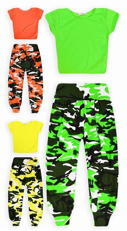 Neon Crop Camo Outfit Dance Pant Ages